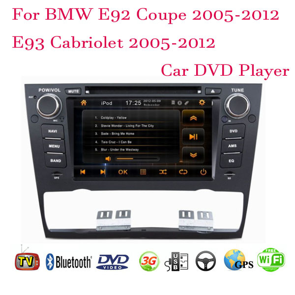 1 Din Android 4.4 Fit BMW E92 Coupe / E93 Cabriolet 2005- 2008 2009 2010 2011 2012 Car DVD Player GPS TV 3G Radio WiFi Bluetooth(China (Mainland))