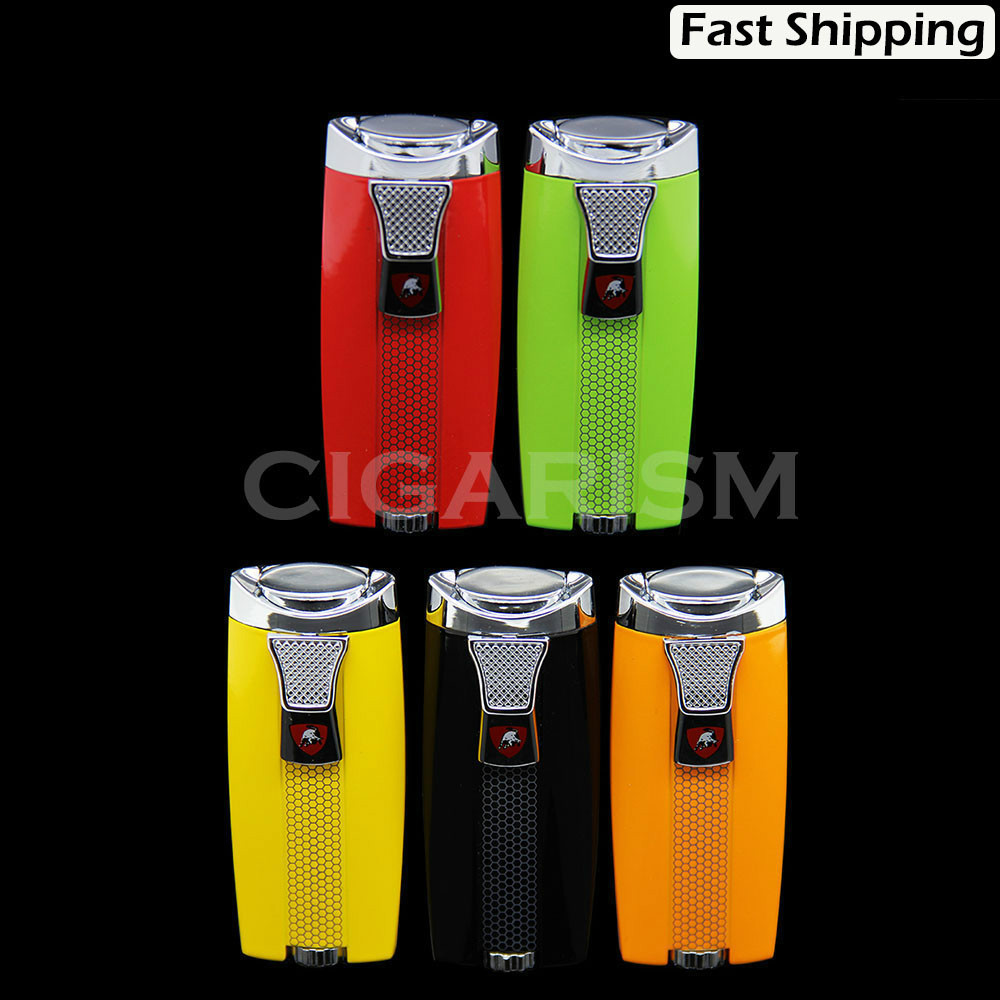 Fashionable 2 Torch Jet Flame Cigar Cigarette Lighter 5 Color(China (Mainland))
