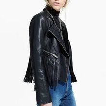 2016 Autumn New Hot European and American Fashion Women motorcycle Faux Leather Jackets Lady Slim Black Tassel PU Coat Outerwear(China (Mainland))