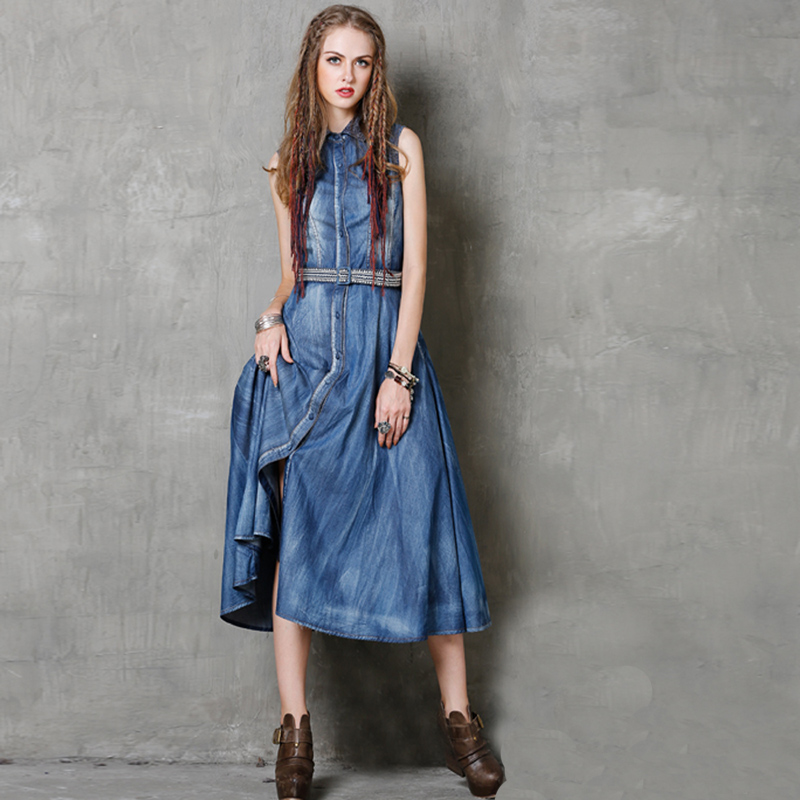2016 Summer Women Boho Vintage Cotton Denim Turn-Down Lace Collar Sleeveless Single Breasted Embroidery Sashes Long Jumper Dress(China (Mainland))