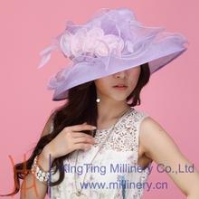 Free Shipping New Women Hat Summer Organza Hat Church Hat Wide Brim Fashion Dress Women Hair Accessories Wedding Dress Flower