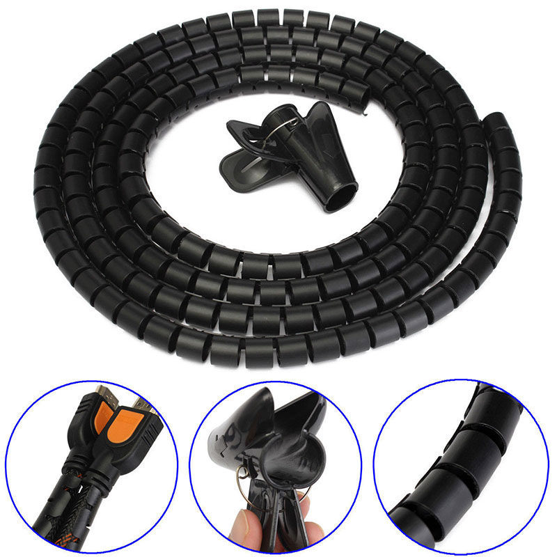 practical new 2m cable cord tidy pc wire organising tool kit spiral wrap home office 80583 in. Black Bedroom Furniture Sets. Home Design Ideas