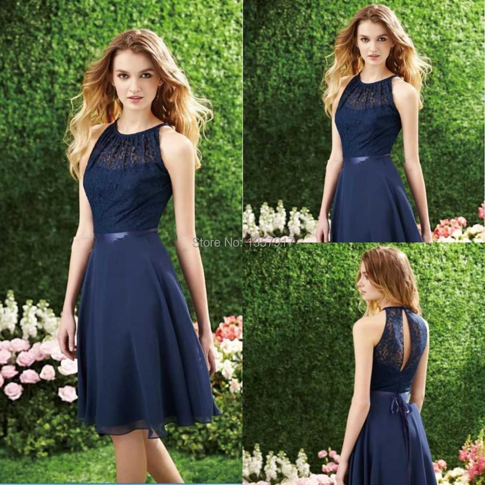 Navy Blue Knee Length Dress