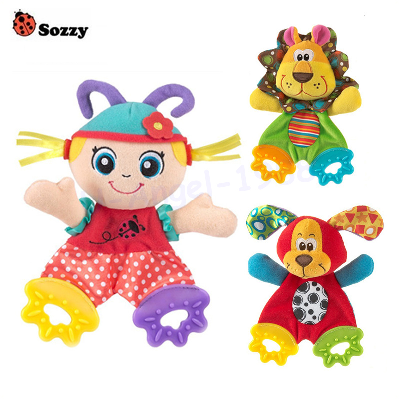 1pcs Baby Infant Soft Appease Toys Towel Playmate Calm Doll Teether Developmental Toy Lion Dog(China (Mainland))