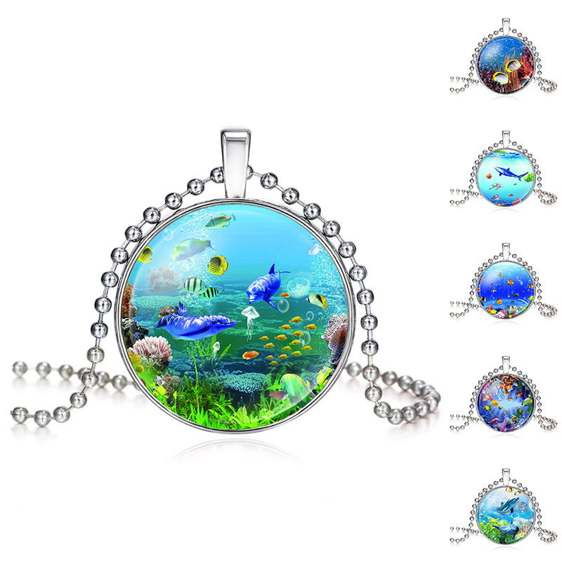 Fashion Seafloor Scenery Colorful Fish Coral Picture Glass Pendant Necklace For Women Girls Handmade Necklace 620183(China (Mainland))