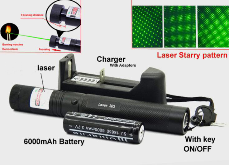 Laser 303 High power 532nm Pointer Burning Match Laser 303 Pointer Pen with Safe Key Green Red laser +6000mah battery+charger(China (Mainland))