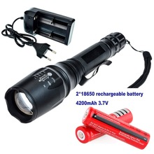Zoomable LED Flashlight 2000 Lumens CREE XM-L T6 Lantern Light 5-mode Strobe SOS High Power Light Waterproof Torch 18650 Charger