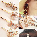 Womens Hairpin Flower Pearl Heart Barrette Lady Crystal Rhinestone Hair Clip Chic Golden Accessories