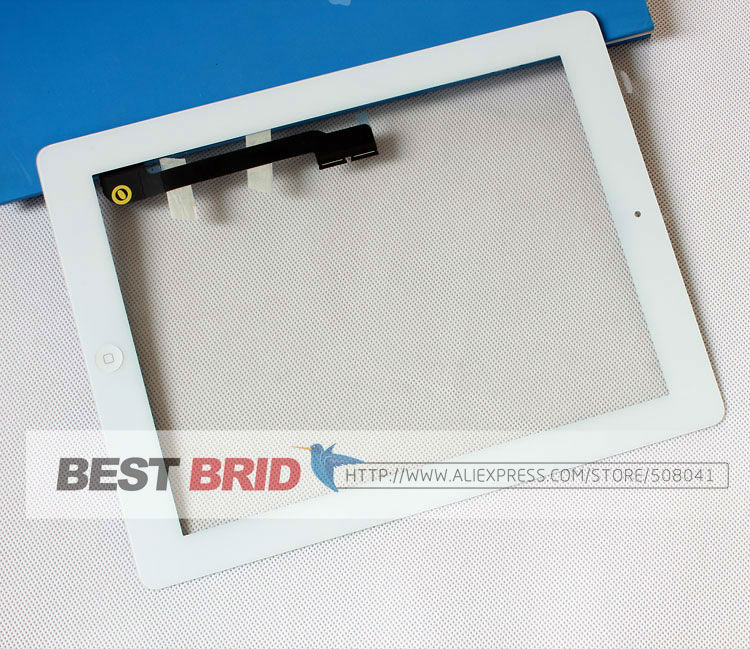 Free by Dhl Ems For ipad3 iPad 3 ipad 4 iPad 4 touch screen digitizer+home button+button flex +sticker +camera holder complete(China (Mainland))