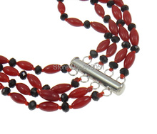 Free shipping Natural Coral Necklace Kawaii with Crystal brass slide clasp Flower 4 strand red 45x13mm
