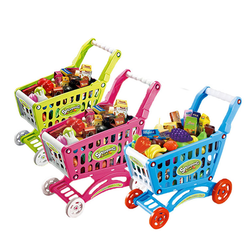 New Baby toys Mini Shopping Cart with Full Grocery Food Toy Playset for Kids 31CM high quality free shipping<br><br>Aliexpress