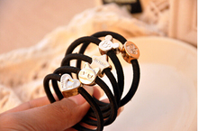 10pcs 10style 55mm Gold Plated Black Elastic Ponytail Holders Hair Accessories For Girl Women Rubber Band