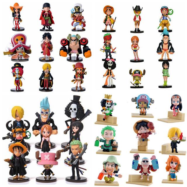 Аниме One Piece PVC Фигурки Симпатичный Мини Рисунок Игрушки Куклы Модель Коллекция Игрушек Brinquedos 9 Шт. Комплект Бесплатная Доставка