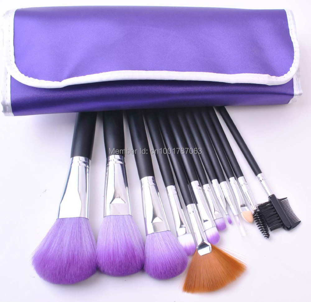 12 pcs Professional Makeup brush Set Portable Daily Cosmetic Tools Eye,Lip,Powder Blush with Purple Canvas Pouch Bag(China (Mainland))