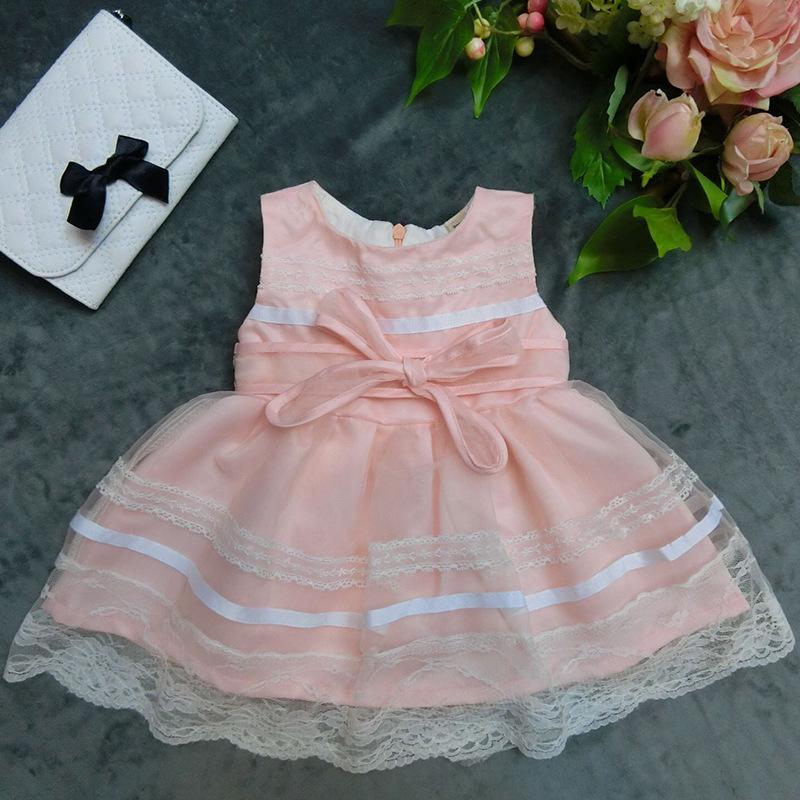 Wholesale kid girls lace side puffy dress qute party dress flower girls dress SIZE:6-9-12-18-24-36  2015110-1