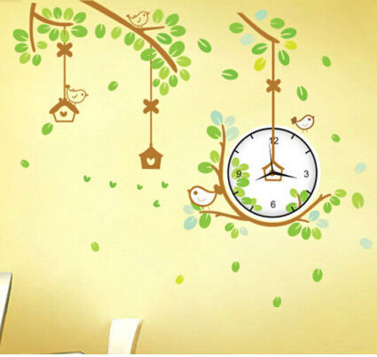 free shipping singing bird cartoon green bedroom tree recyle number wall clock Sticker lovely(China (Mainland))
