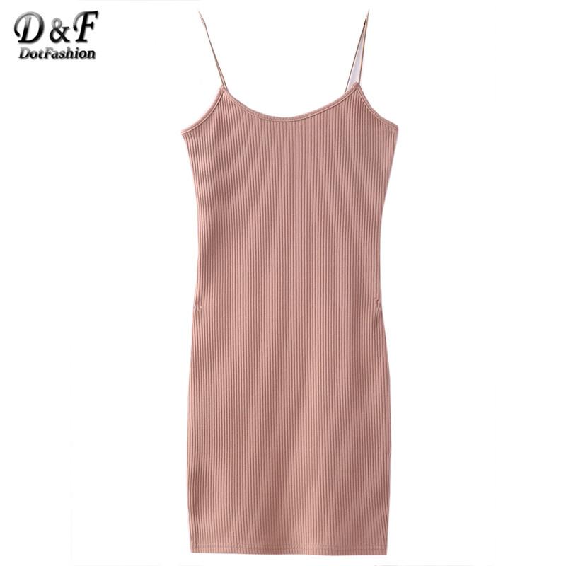 Dotfashion Khaki Ribbed Spaghetti Straps Sheath Dress Women Sexy Plain Round Neck Sleeveless Bodycon Mini Dress(China (Mainland))