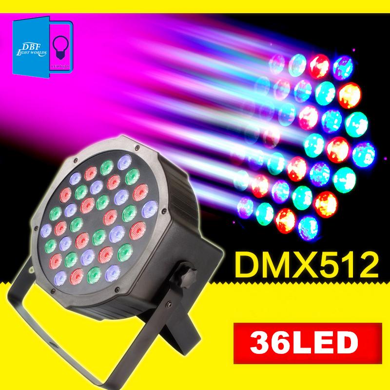 [DBF]LED Stage Lights 36 RGB PAR LED DMX Stage Lighting Effect DMX512 Master-Slave Led Flat Par lights for DJ Disco Party KTV(China (Mainland))