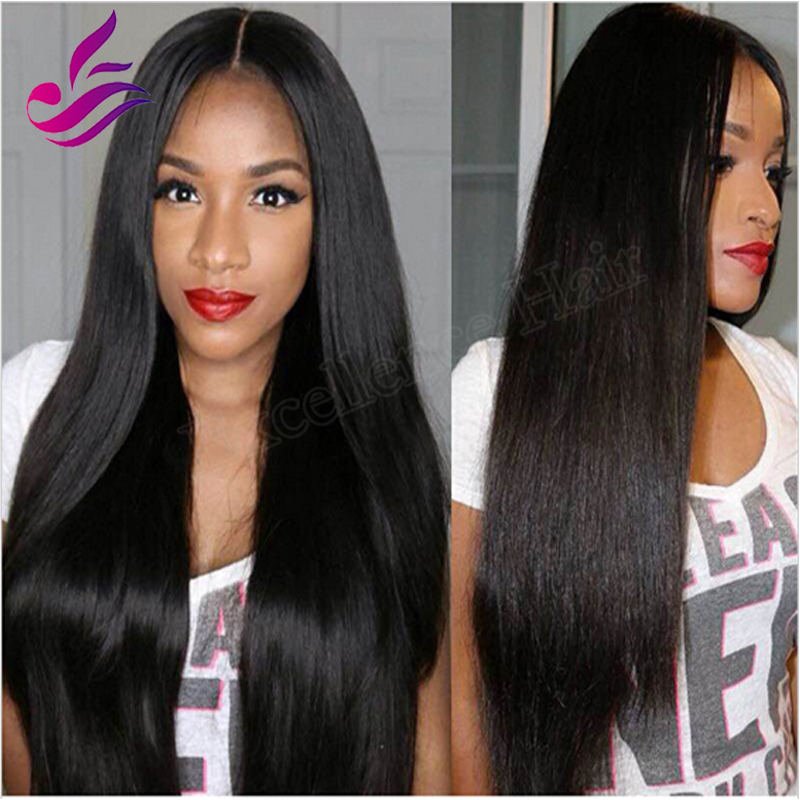 2016 New Russian Virgin Hair Middle Parting U Part Wig 130% density 4 colors in stock Silky Straight Human Hair Upart Wig<br><br>Aliexpress