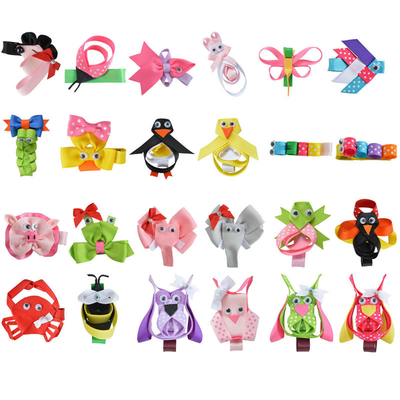 "24PCS 2-2.5"" Hair Bow For Girls baby DIY Cute animals Hairpin Cheer bows Ribbon Kids Hair Clip Brand New Hair Accessories XC-A09(China (Mainland))"