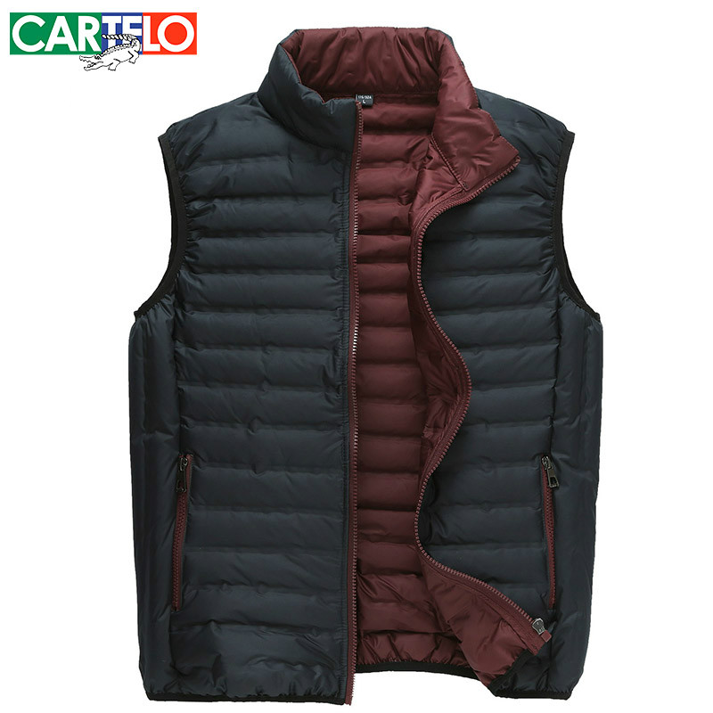 CARTELO/Brand Slim 90% Duck S-XXXL Men's Casual Down Vest Autumn Or Winter Male Warm Thin For Man(China (Mainland))