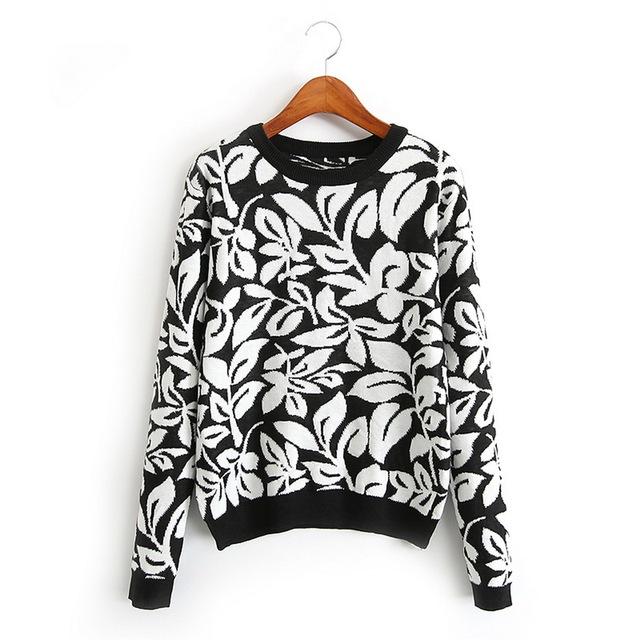 Женщины основные цветочные свитера теплый толстый зимний длинный рукав вязаный пуловер ...
