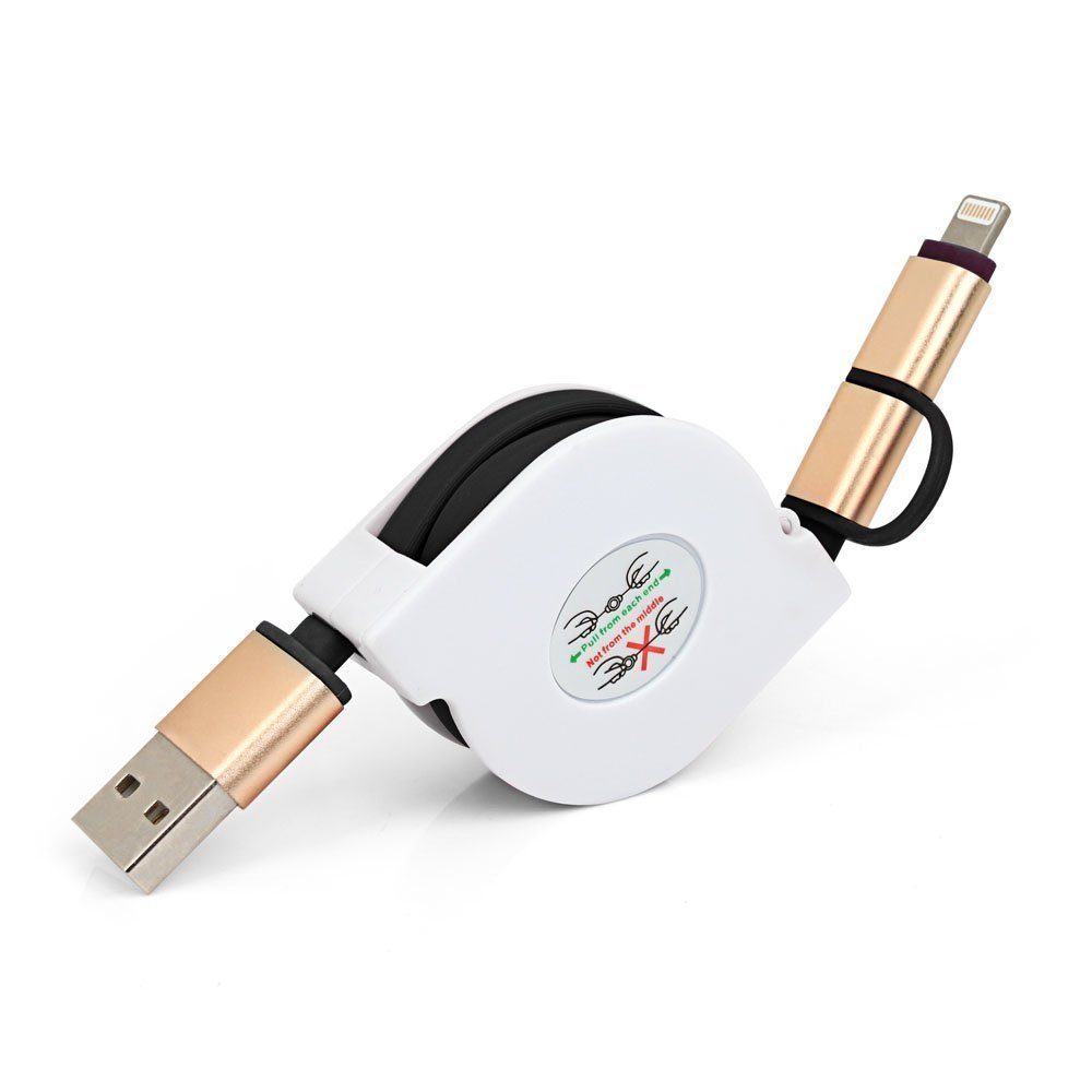 Hot 2In1 USB Connector Retractable Extension Data Cable Micro USB Charger Sync Data Cable For iPhone iPad Air iPad Mini Samsung(China (Mainland))