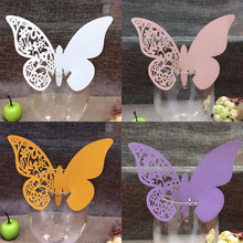 5 Color Multi-Usage Wine Glass Paper Cup Cards 10pcs Butterfly Laser Place Table Escort Baby Shower Wedding Favors Party Decor(China (Mainland))