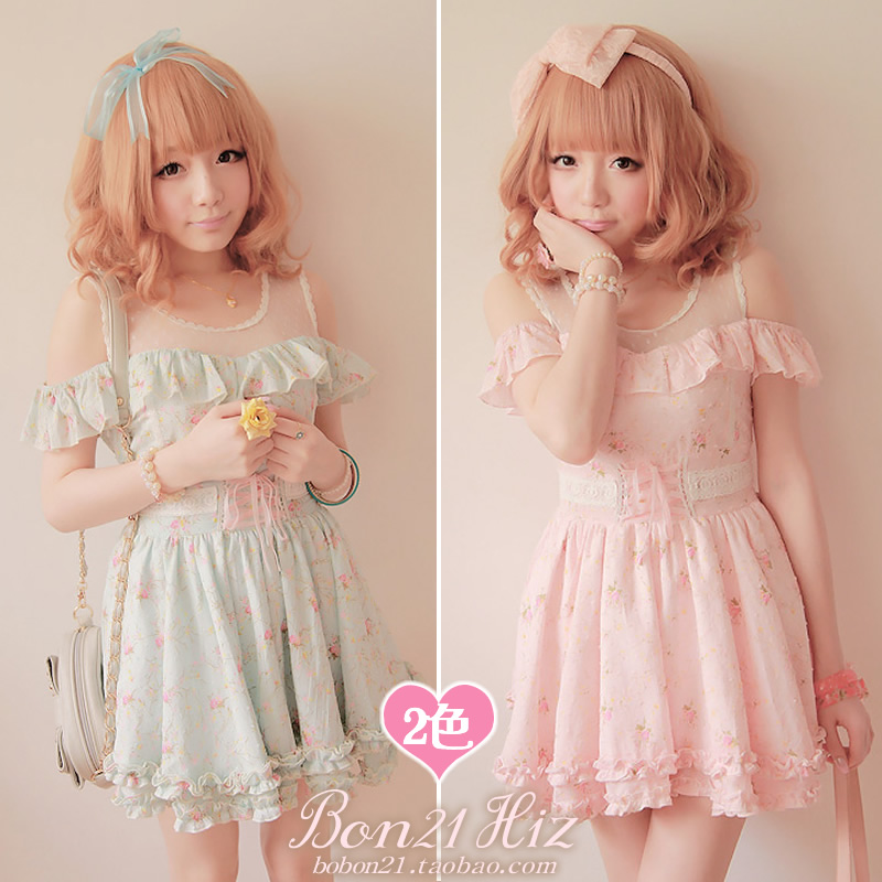 Sweet lolita dress bobon 21 princess royal pink strapless shoulder floral baby doll gauze patchwork one-piece d0825 - Loliloli shop for Lolita Princess store