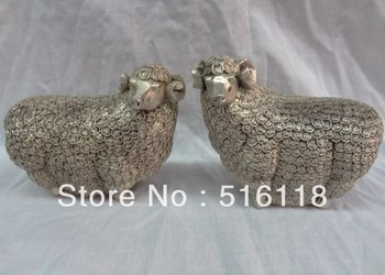 Elegant Metals Carvings  A Pair Chinese Silver Zodiac Sculpture JiXiang Coin Money Wealth Sheep Statue
