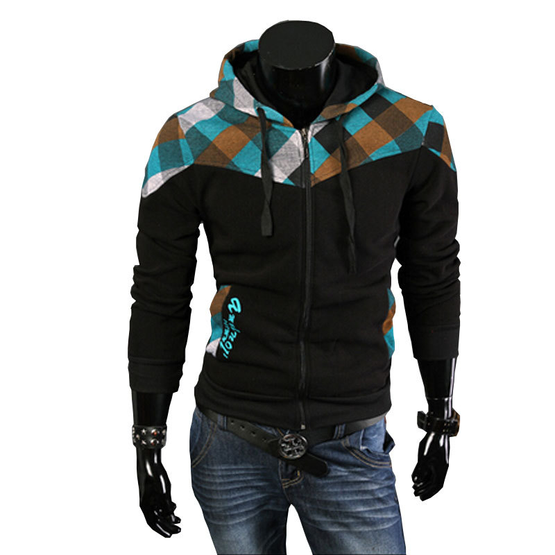 New Arrival 2015 Autumn Mens Casual Slim Fit Hooded Hoodies Sweatshirt Sportswear Male Patchwork Fleece Jacket(China (Mainland))