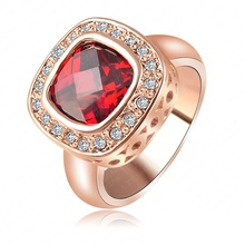 LZESHINE Brand Ruby Diamond Retro Noble Ladies Rings Real 18K Rose Gold Plated Elegant Simulated Ring Jewelry Ri-HQ1015-A