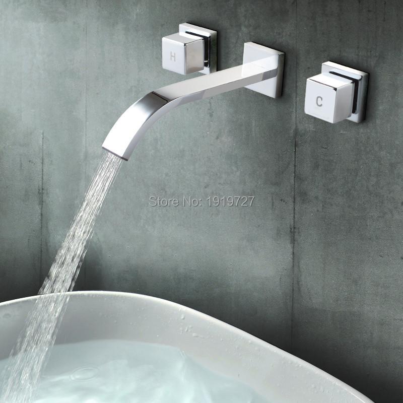 Polished Chrome Wall Faucet Bathroom Basin Faucet Wall Mounted Faucet Bathroom Waterfall Faucet Water Tap Mixer Tap(China (Mainland))
