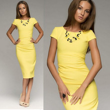 2015 elegant yellow tights bodycon dress high-end brand fitness summer dress package hip solid pencil women dress(China (Mainland))