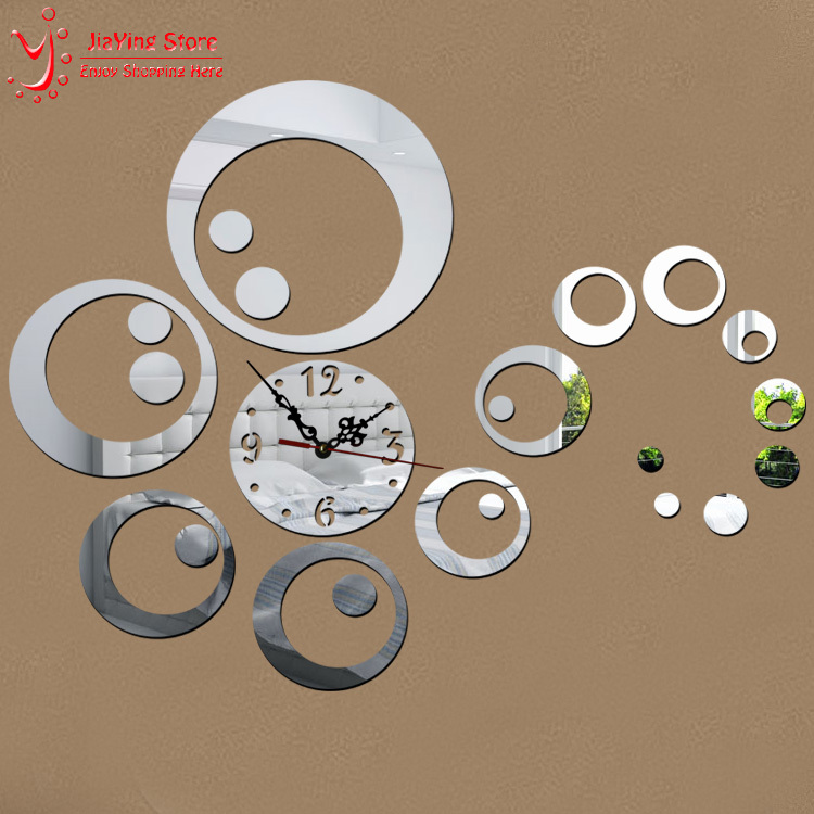 23Pieces/Set 3 Colors Diy Home Decoration Fashion Mirror Surface Of The Mirror Wall Stickers Clock Living Room Wall Clock Z044(China (Mainland))