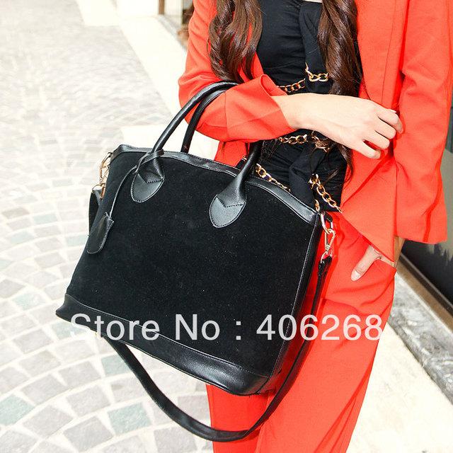 free shipping 2013 fashionable color block high quality faux suede brand bag ladies' handbag shoulder bag sling bag