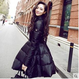 New Women Winter Collar Duck Down Coat Hooded Jacket Slim Long Parka Outwear Winter Jacket Women Europe Stand