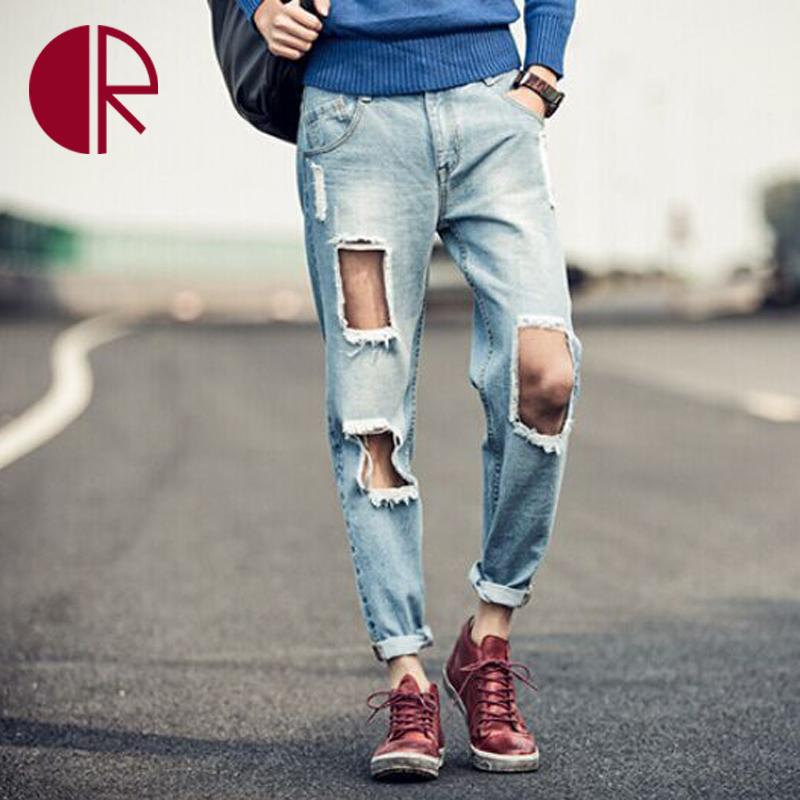 2016 nuevo reloj para hombre vaqueros de diseño moda hombre lamentando corte agujero Denim Socail guapos hombre Swag pantalones de Jean high Street Denim