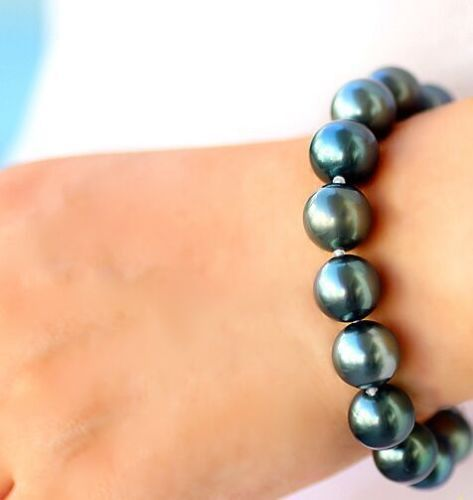 A Charming 7.5-811-12mm natutal tahitian genuine black round pearl bracelet<br><br>Aliexpress