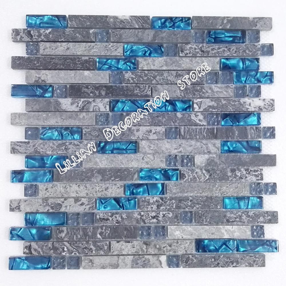 mar azul de vidrio azulejo de la cocina backsplash baldosas de mrmol gris piedra bao ducha lineales de pared chimenea de azule