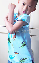 2015 full 100% cotton baby delicate embroidery dinosaur bicycle patterns T-shirts pure color soft children cloth(China (Mainland))