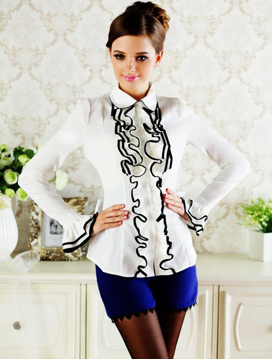 2015 primavera mulheres blusa de manga comprida Tops moda vitoriana babados plissado(China (Mainland))