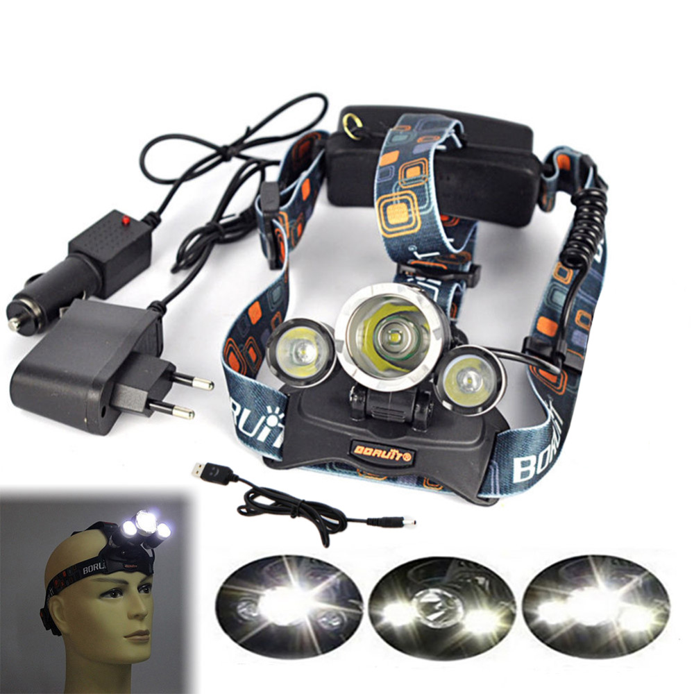 6000Lm CREE XML T6+2R5 LED 18650 Headlight Headlamp Head Lamp Light 3-mode torch + Car Charger +EU/US charger + USB for fishing<br><br>Aliexpress