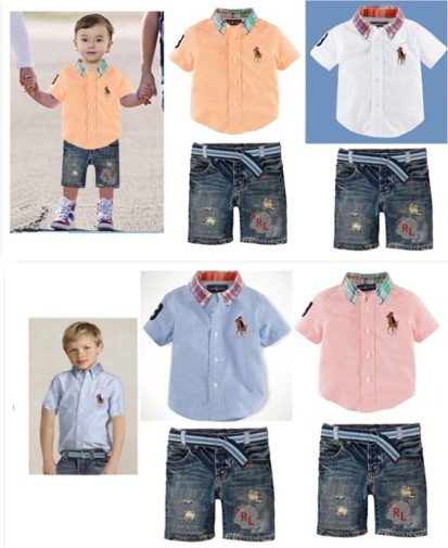 2014 Brand Name Children POLO Clothes baby boys polo shirt + pants suit kids casual short sleeve t shirt sport wear 2pcs set(China (Mainland))