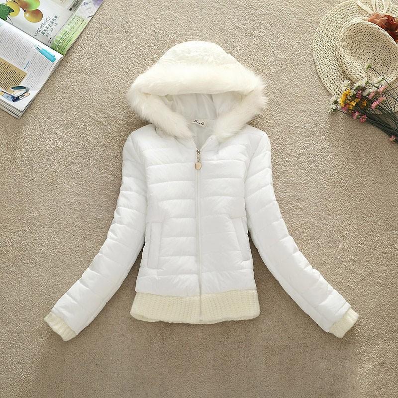 2016 Kadın Kış Coat Pamuk Yastıklı Ceket Kısa Örme Başlık Kürk Yaka Kadın Kış Ceket ve Mont