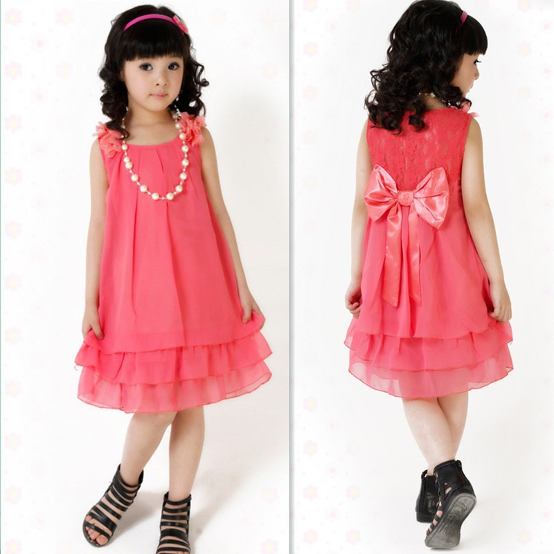 Size 110-160 Summer Teens Clothing Pink Red Yellow 3 Colors 2-13 Years Big Girl Dress Bow Teenagers Dresses(China (Mainland))