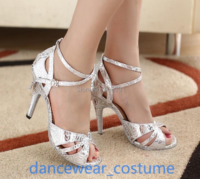 Women's Satin PU Latin Ballroom Salsa Dance Shoes Ladies Rumba Samba Tango Heels Sandals US 5-9 - dance dress store