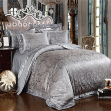 Silver Grey Satin Silk Jacquard Bedding Set Comforter/Quilt Bedding Set Duvet Cover Bed Sheet Set King Queen Size Bedclothes(China (Mainland))