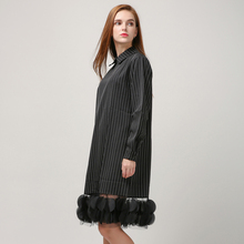 [TWOTWINSTYLE] 2016 Autumn Stripes Splicing Pieces Gauze See Through Long Sleeve Dress Women New Clothing Fashion(China (Mainland))