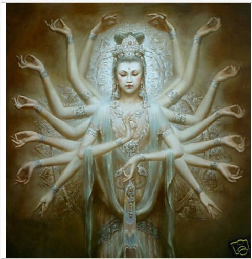 Framed Hand Oil Painting Canvas Modern Decoration Wall Art Picture Religion Buddha Thousand-hand godness - Home Paintings Store store